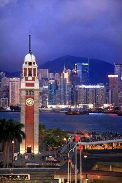 Hong Kong Clock Tower and Harbor at Night from Kowloon Star Ferry Reflection by William Perry