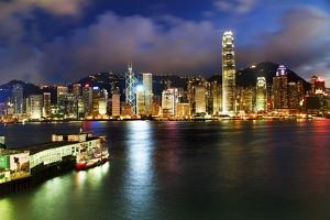 Hong Kong Harbor at Night from Kowloon Star Ferry Reflection by William Perry