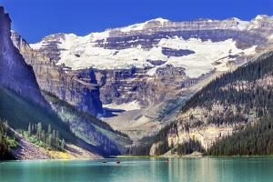 Lake Louise canoes, Leroy Glaciers reflection, Banff National Park, Alberta, Canada by William Perry