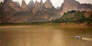 Liuijiaxia Reservoir Canyon Binglin Si Buddhist Temple Lanzhou, Gansu, China by William Perry