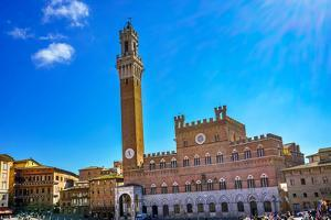 Mangia Tower Piazza del Campo, Tuscany, Siena, Italy. by William Perry