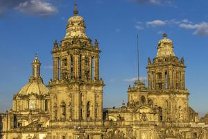 Metropolitan Cathedral and President's Palace in Zocalo, Mexico City, Mexico. by William Perry