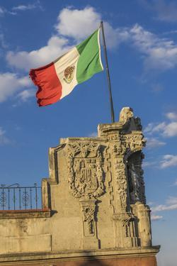 Mexican Flag and statues, Zocalo, Mexico City, Mexico. by William Perry