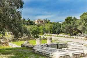 Middle Stoa ruins, ancient Temple of Hephaestus. Agora Marketplace, Athens, Greece. by William Perry