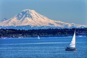 Mount Rainier Puget Sound North Seattle Snow Mountain Sailboats, Washington State by William Perry