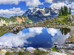 Mount Shuksan pool reflection, Artist Point, Mount Baker Highway, Washington State, USA by William Perry