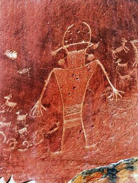 Native American Indian Fremont Petroglyphs Sandstone Mountain Capitol Reef National Park Torrey by William Perry