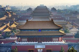 North Red Entrance Many Yellow Roofs Halls Gugong Forbidden City, Beijing, China. by William Perry