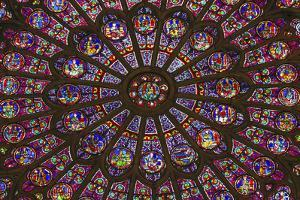North Rose Window Virgin Mary Jesus Disciples Stained Glass Notre Dame Cathedral Paris, France by William Perry