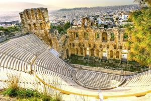 Odeon of Herodes Atticus, Athens, Greece. Stone theater base of Acropolis, built 161 AD. by William Perry