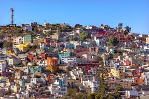 Orange, Blue, Red Houses of Guanajuato Mexico by William Perry