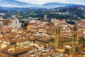 Orange roofs, Badia Florentina Abbey, Santa Croce Church cityscape, Florence, Italy. by William Perry
