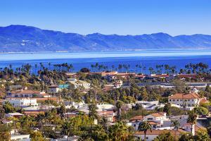 Orange Roofs Buildings Coastline Pacific Ocean Santa Barbara, California by William Perry