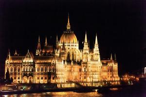 Parliament Building, Danube River Reflection, Budapest, Hungary. by William Perry