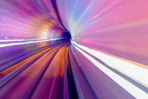 Pink Blue Rail Abstract Underground Railway Pudong Bund Shanghai, China. Black Hole of Shanghai by William Perry