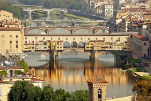 Ponte Vecchio Covered Bridge over Arno River, Florence, Italy by William Perry