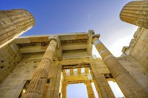 Propylaea Ancient entrance gateway ruins Acropolis, Athens, Greece. Construction ended in 432 BC by William Perry