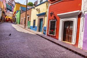Red Pink Colorful Houses Narrow Street, Guanajuato, Mexico by William Perry