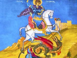Saint George Dragon Fresco, Saint George's Greek Orthodox Church, Madaba, Jordan by William Perry
