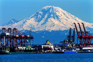 Seattle Port with Red Cranes and Ships Barges Pier and Dock Mt Rainier in the Background by William Perry