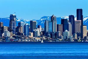Seattle Skyline Sailboat Puget Sound Cascade Mountains, Washington State by William Perry