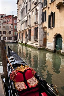 Small Canal Bridge Buildings Gondola Boats Reflections, Venice, Italy by William Perry