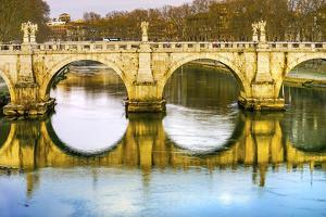 St. Angelo Bridge, Tiber River, Rome, Italy. Designed by Gian Lorenzo Bernini by William Perry