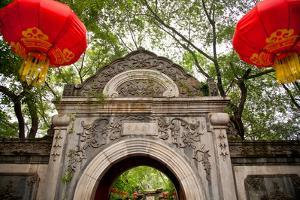 Stone Gate Garden Red Lanterns Prince Gong's Mansion, Beijing, China by William Perry
