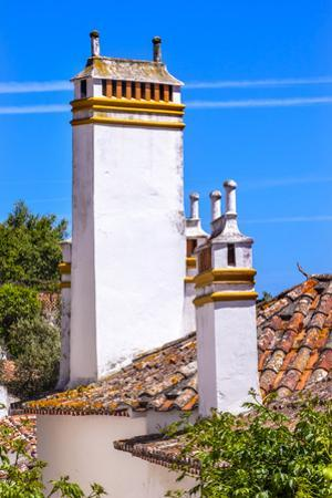 Towers of building in a Medieval Town, Obidos, Portugal by William Perry