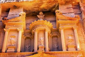 Treasury built by the Nabataens, Siq, Petra, Jordan. by William Perry