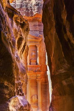 Yellow canyon and the Treasury in the Morning. Petra, Jordan by William Perry