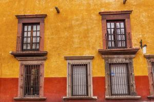 Yellow Red Wall Brown Windows Metal Gates, San Miguel de Allende, Mexico by William Perry