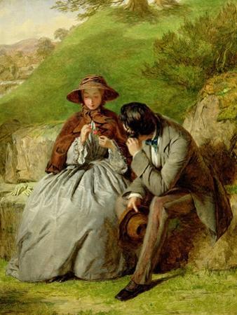 Lovers, 1855 (Oil on Board)