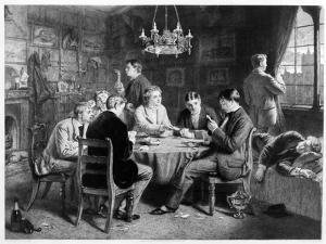 The Road to Ruin: College, Engraved by Leopold Flameng (1831-1911) Pub. by the Art Union of London by William Powell Frith