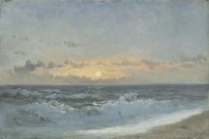 Sunset over the Sea, 1900 (Oil on Board) by William Pye