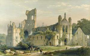 Kirkstall Abbey from the North West, The Monastic Ruins of Yorkshire, Engraved by George Hawkins by William Richardson