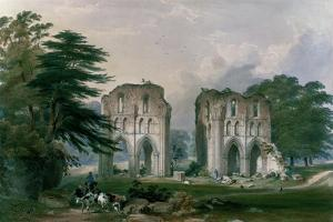 Roche Abbey, View from the West, from 'The Monastic Ruins of Yorkshire', 1842 by William Richardson