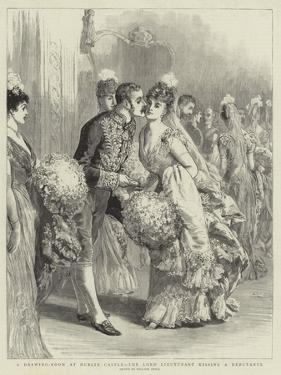 A Drawing-Room at Dublin Castle, the Lord Lieutenant Kissing a Debutante by William Small
