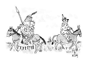 A clown on a mule and a knight in armor on a horse pass each other. - New Yorker Cartoon by William Steig
