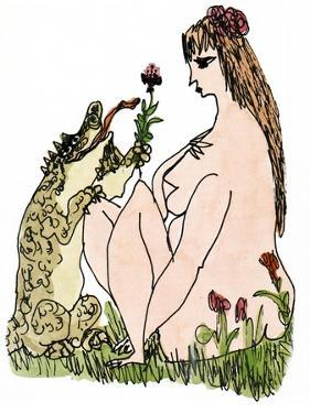 A dog-like lizard-like animal offers a flower to a nude woman. - New Yorker Cartoon by William Steig