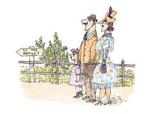 A mother, father and daughter in the park head for the reptile house. - New Yorker Cartoon by William Steig