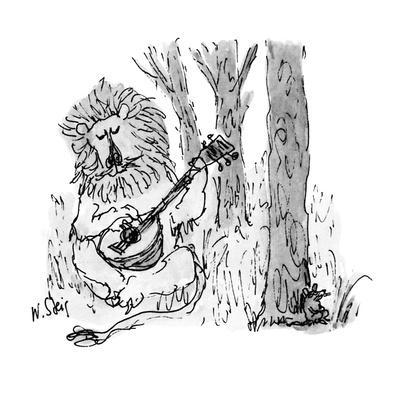 Lion playing guitar to mouse. - New Yorker Cartoon