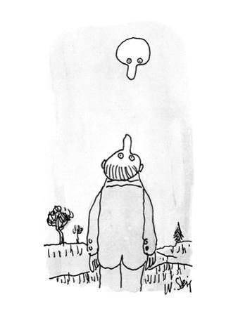 Man looing up at moon while the moon looks down at him. - New Yorker Cartoon by William Steig