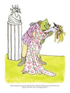 """Shrek snapped at her nose. She nipped at his ear. They clawed their way i…"" - New Yorker Cartoon by William Steig"