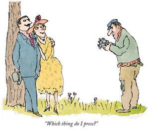 """""""Which thing do I press?"""" - New Yorker Cartoon by William Steig"""