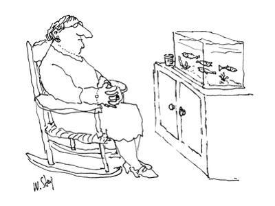 Woman sitting in rocking chair looking at fish in tank. - New Yorker Cartoon by William Steig