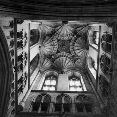 Canterbury Cathedral's Ceiling with an Elaborately Detailed Design