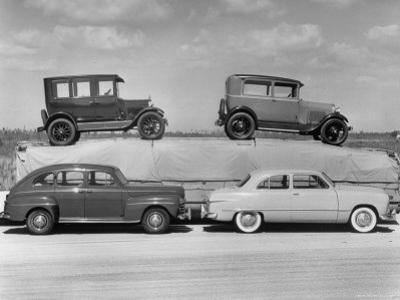 New Ford Cars Arranged to Make Advertising Pictures