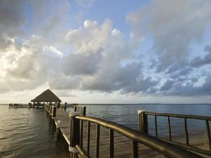 A Dock and Palapa, Placencia, Belize by William Sutton