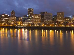 City Lights Reflected in the Willamette River, Portland, Oregon, USA by William Sutton